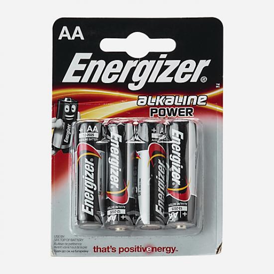 Soldes Blister de 4 piles alcalines AA - Lr6 -1,5V - B4 NOIR-ENERGIZER avec une remise 55-70%